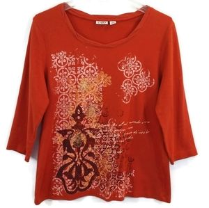 Cato Orange Long Sleeve Thermal Knit Top Shirt